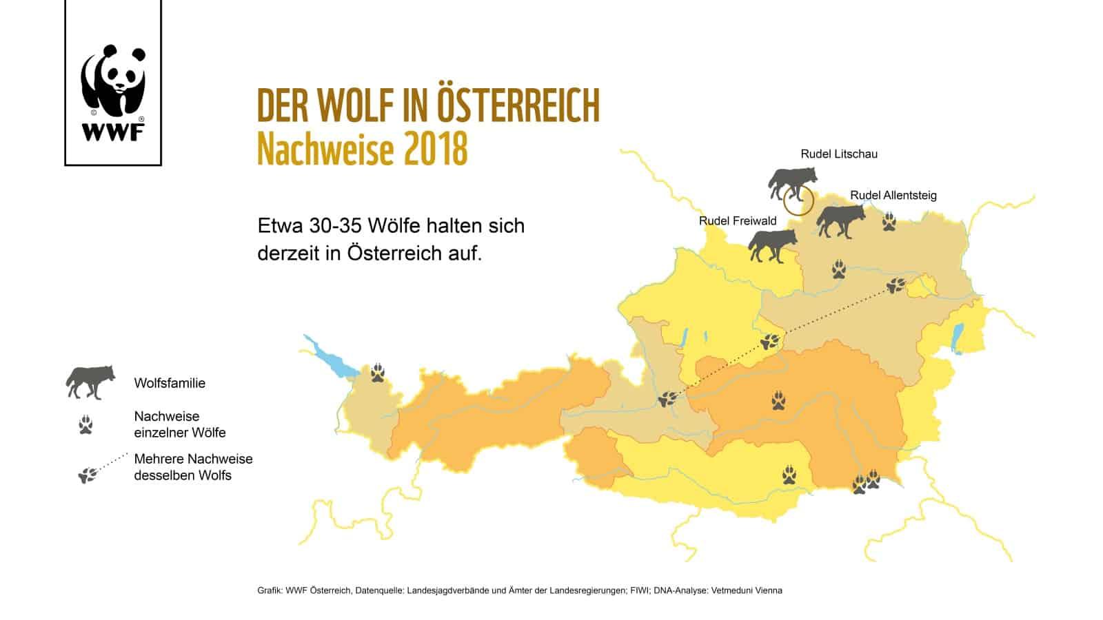 Wolfsverbreitung in Österreich