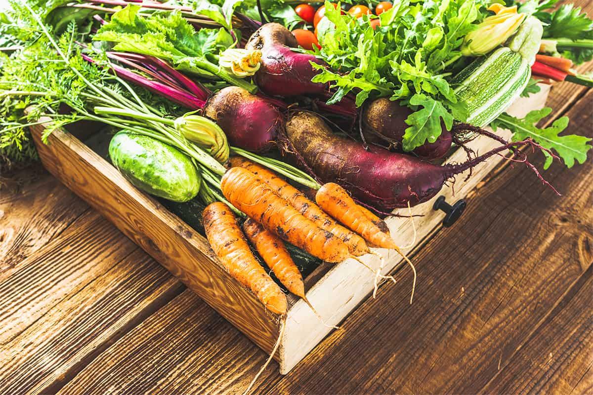 frisches Gemüse in Box