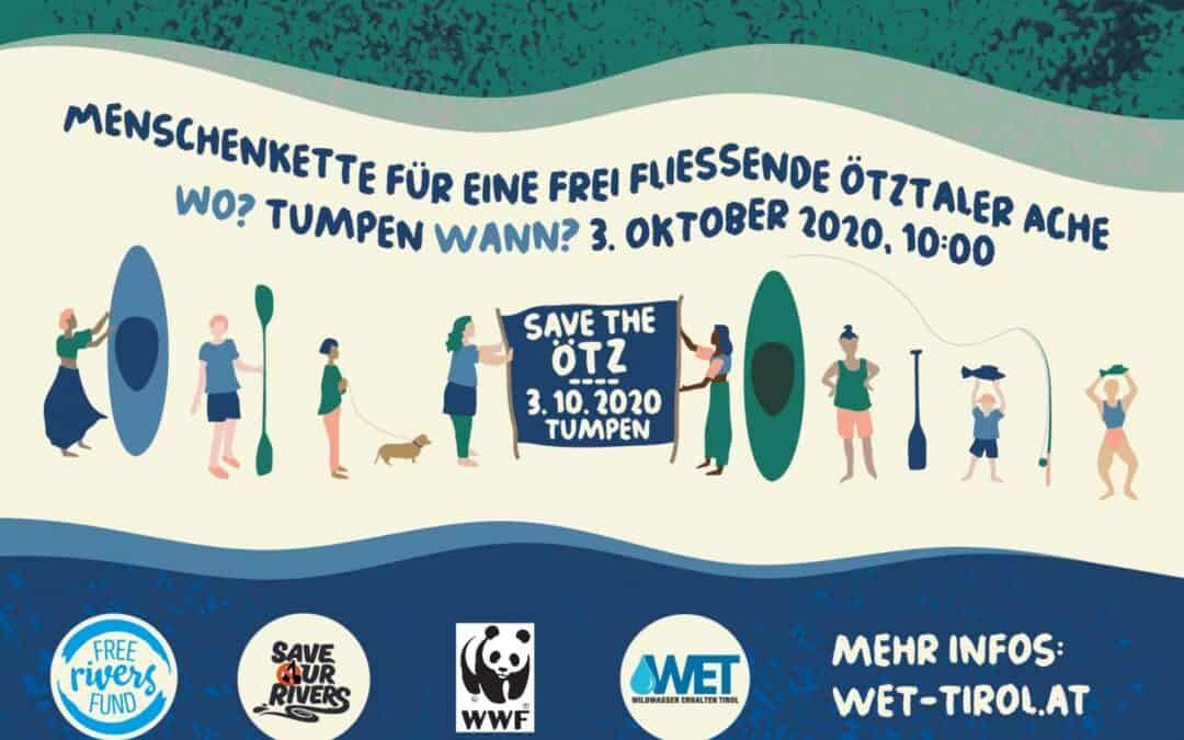 """Fototermin und Protestaktion: """"Menschenkette für freie Flüsse"""""""