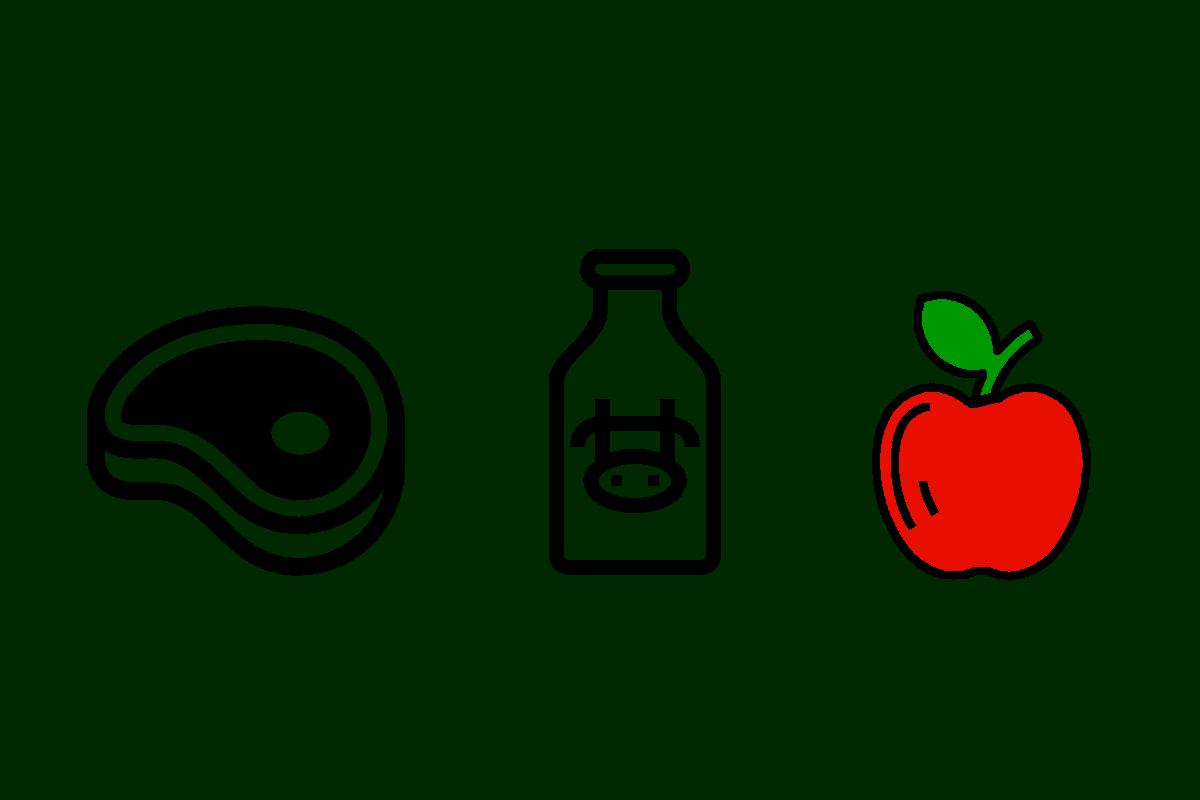 Fleisch Milch Gemüse (c) thenounproject